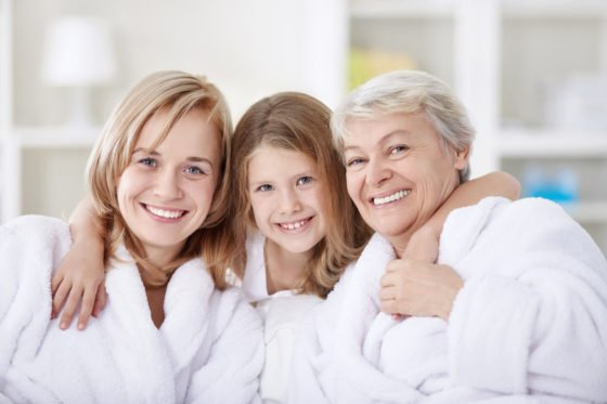 family in white robes